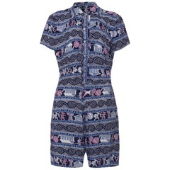 Very Rare 1940s Rayon Teenage Playsuit With Superb Novelty Roman Warrior Print