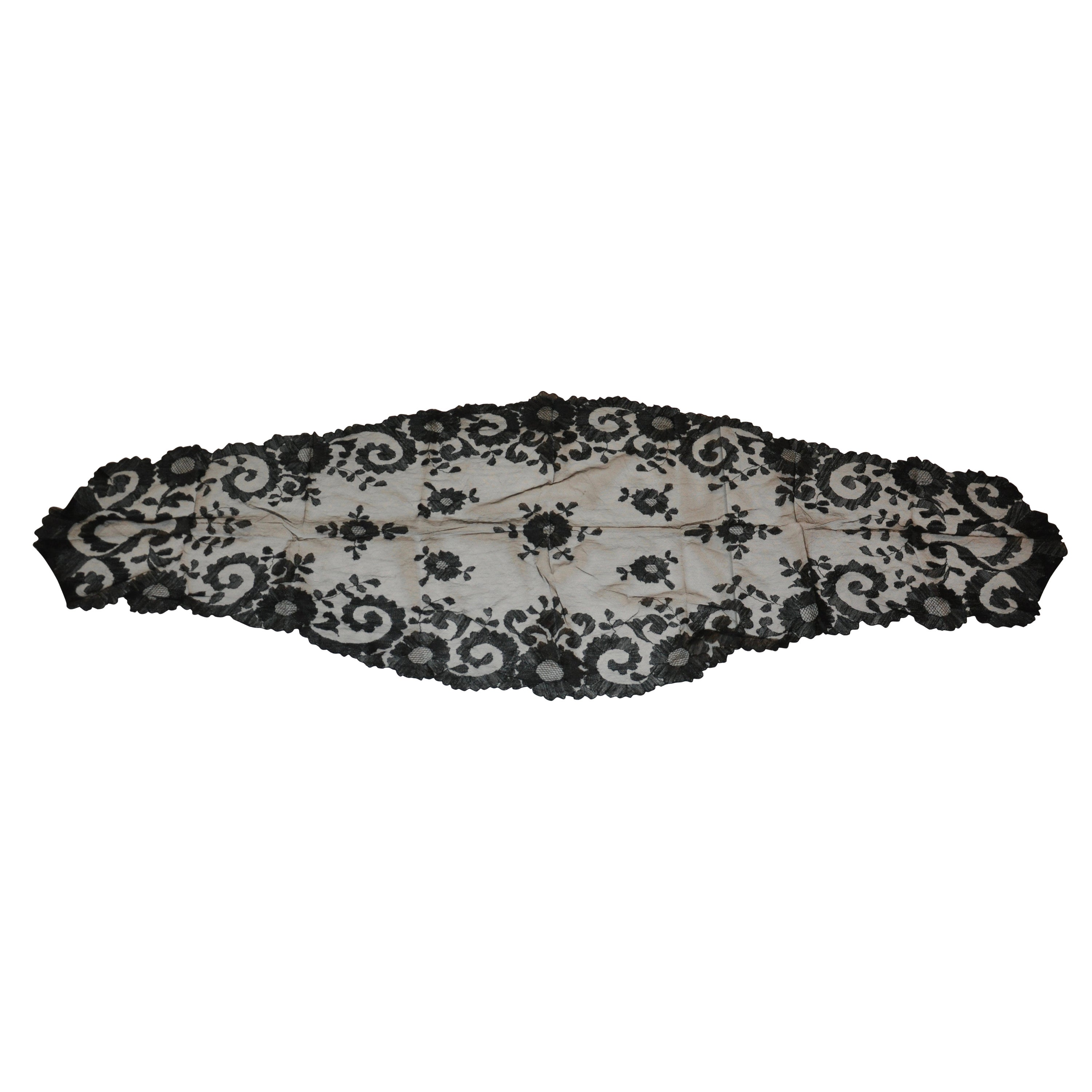 Rare Black Hand-Woven French Lace with Scallop Edges Shawl