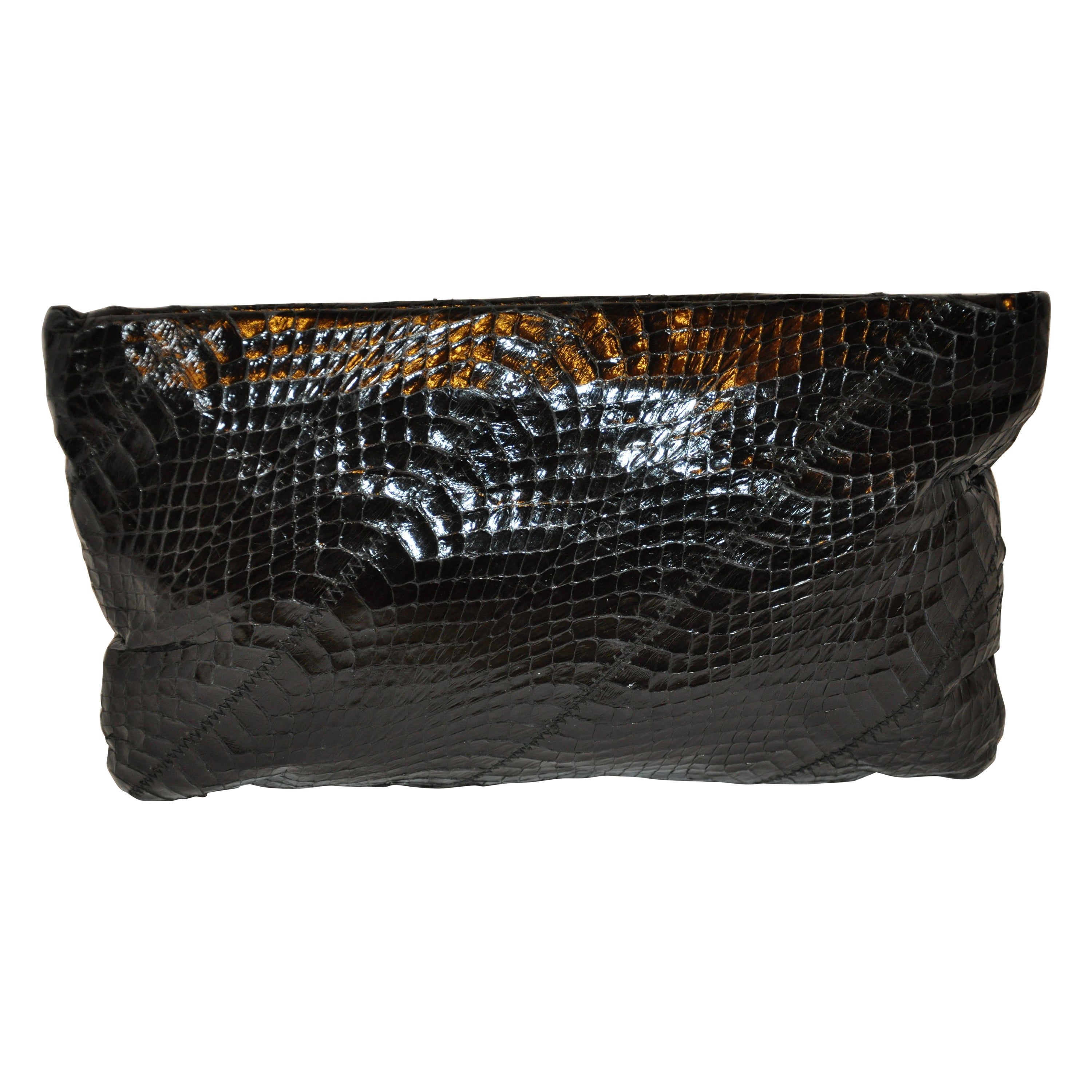 """Ronay Midnight-Black Snakeskin """"Spring-Top"""" Clutch With Optional Shoulder Strap."""