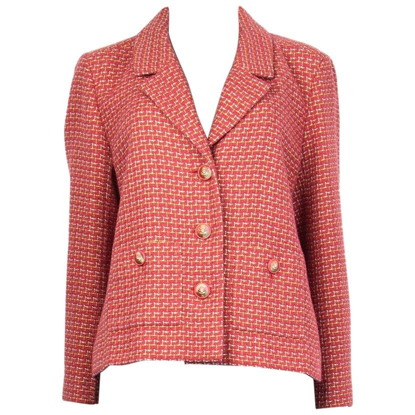 CHANEL pink lime silver cotton Tweed Collared Blazer 46 XXL