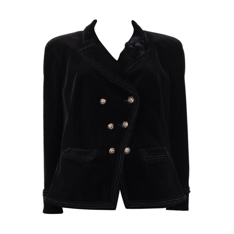 CHANEL black velvet Double-Breasted Blazer Jacket 48 XXXL