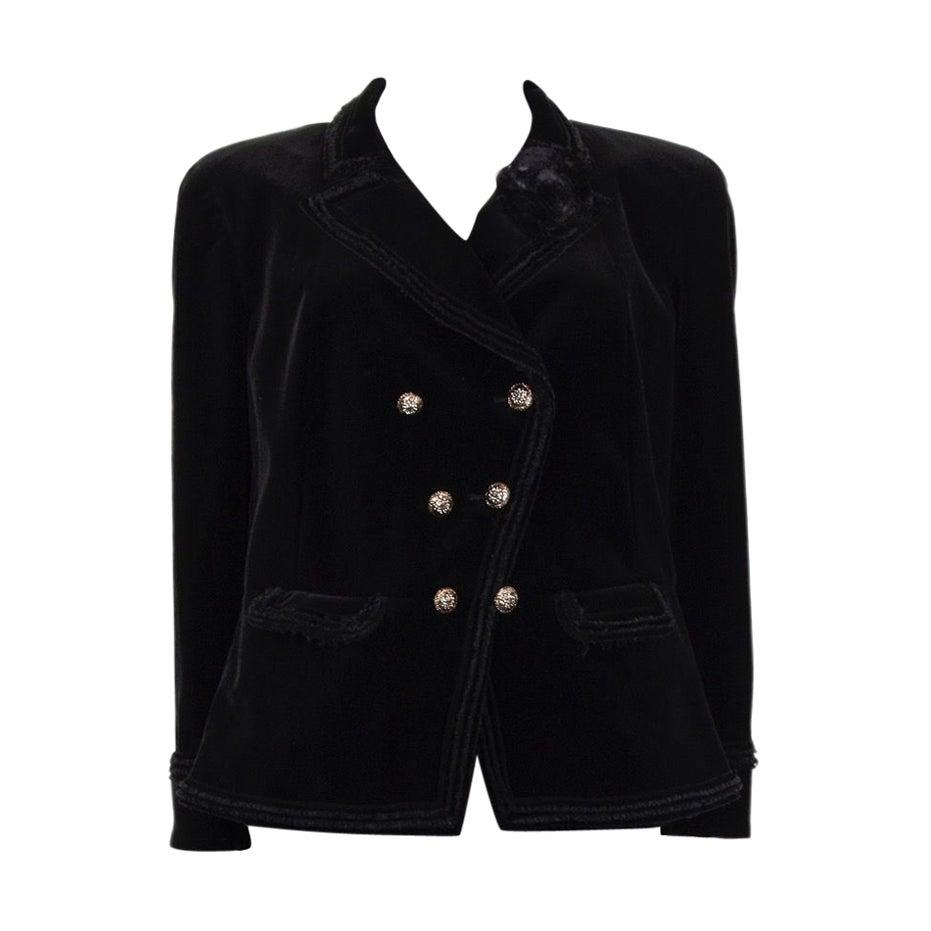 CHANEL black velvet Double-Breasted Blazer Jacket 48 XXXL