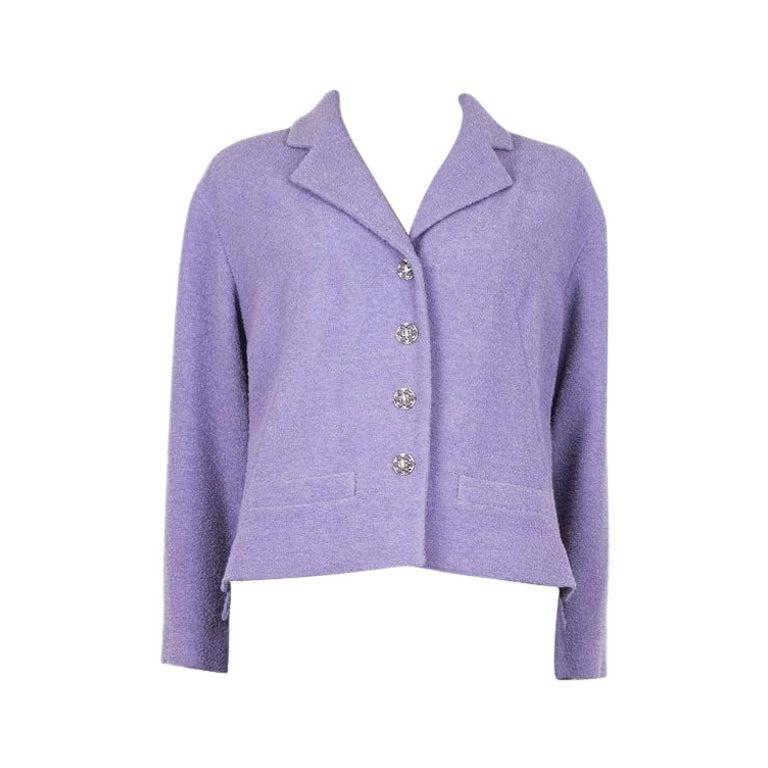 CHANEL lilac purple wool Tweed Short Blazer Jacket 48 XXXL