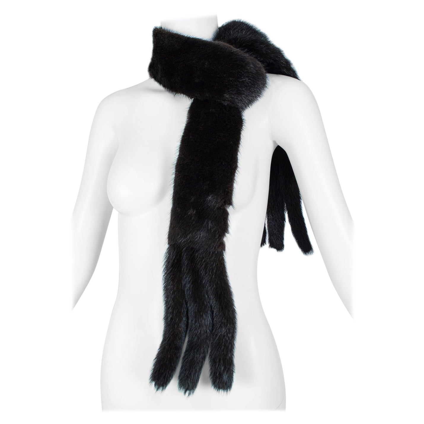 Black Mink Skinny Scarf or Belt with Tails – One Size, 1950s