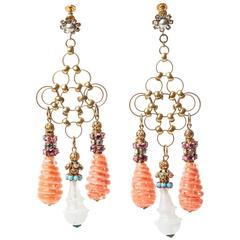 Miriam Haskell Massive Venetian Glass Girandole Earrings