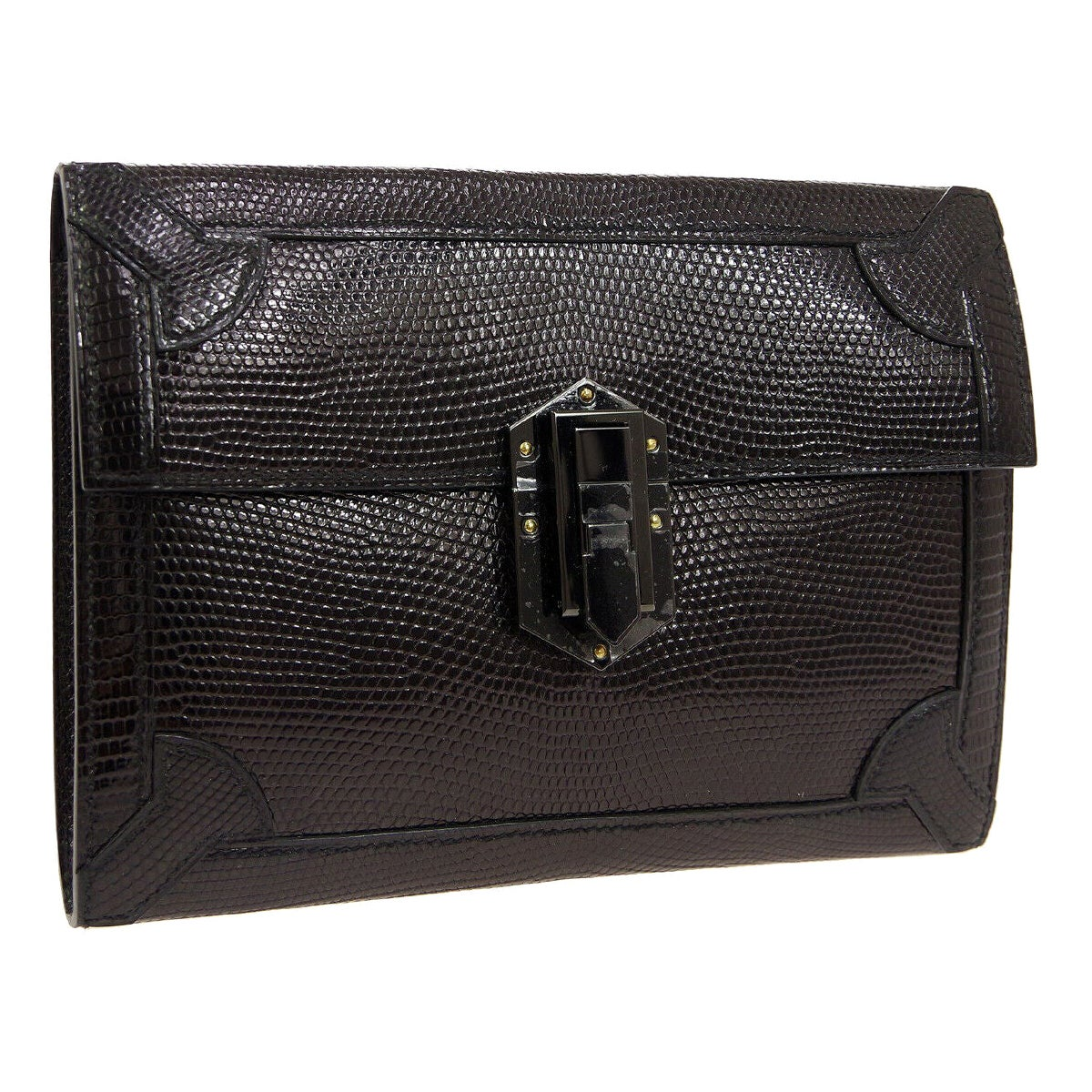 Hermes Black Lizard Exotic Leather Envelope Evening Clutch Bag in Box