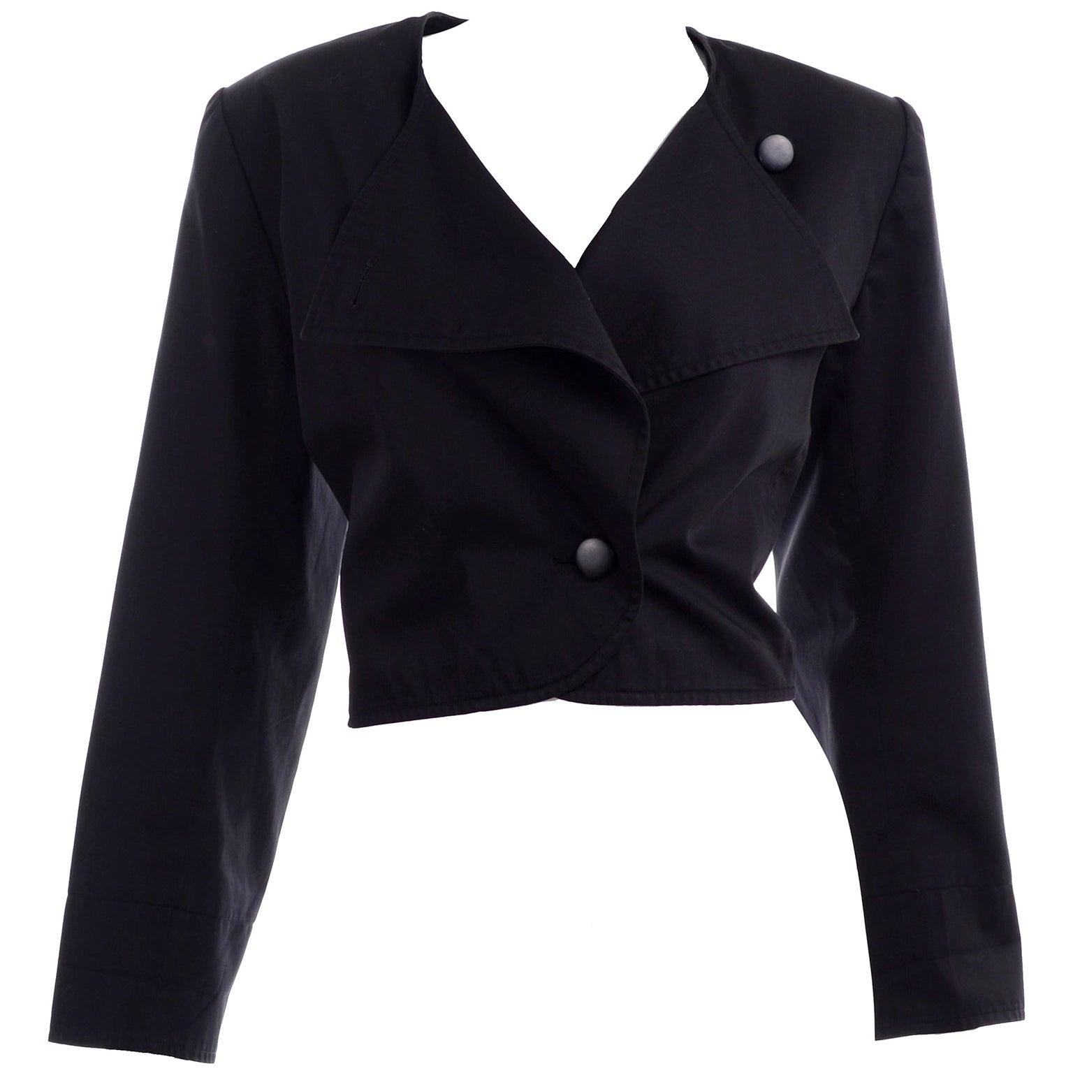 1980s Vintage Yves Saint Laurent YSL Black Cotton Short Jacket French Size 44