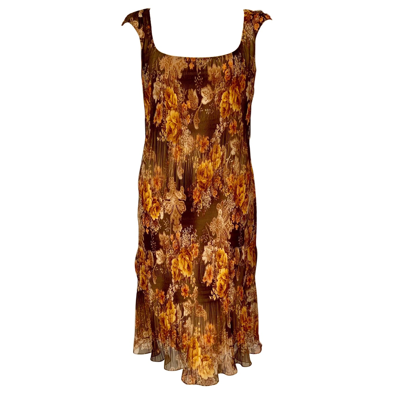 Richard Tyler Couture Autumn Floral Printed Silk Chiffon Dress