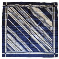 Echo Navy & Cream Abstract Silk Scarf with Hand-Rolled Edges