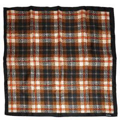 Echo Multi-Color Plaid Silk Scarf with Hand-Rolled Edges