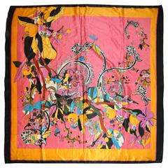 Wonderfully Whimsical Large Multi-Color Silk Crepe de Chine Scarf
