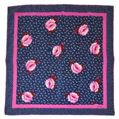 Bill Blass Fuchsia, Navy and White Floral Silk Scarf with Hand-Rolled Edges