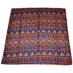 """Harve Benard Multi-Color """"Tribal"""" Silk Scarf with Hand-Rolled Edges"""