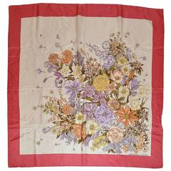 Adrienne Vittadini Multi-Color Floral Silk Scarf with Rose Borders