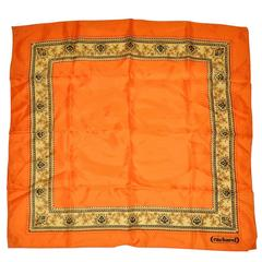 Cacharel Bold Tangerine with Floral Border Silk scarf