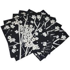 "Vera Black & White ""Set of 6"" Floral Linen-Blend Table Napkins"