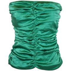 Flavio Castellani Emeral Green Silk Crepe de Chine Strapless Evening Top