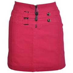 Gianni Versace Bold Fuchsia Stretch Buckled Detailing Mini Skirt