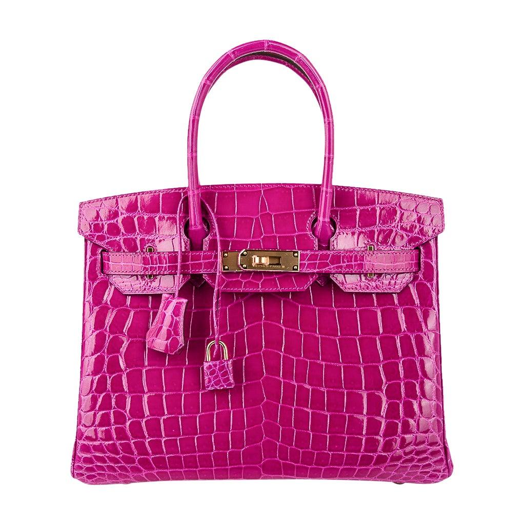 Hermes Birkin 30 Bag Rose Scheherazade Pink Crocodile Gold Hardware