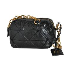 Marc Jacobs Black Calfskin Quilted with Gold Hardware Shoulder Bag
