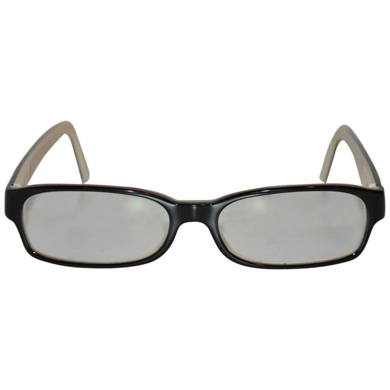 Chanel Signature Black Exterior with Cream Lucite Interior Eyeglasses