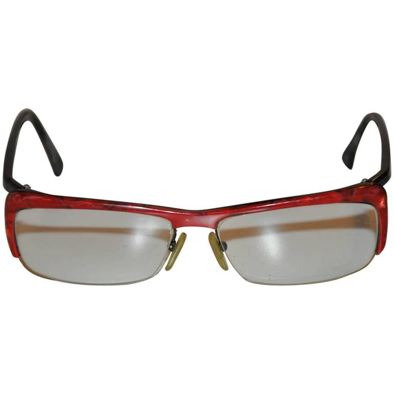 "Alain Mikli Red & Black ""Confetti"" Eyeglasses"