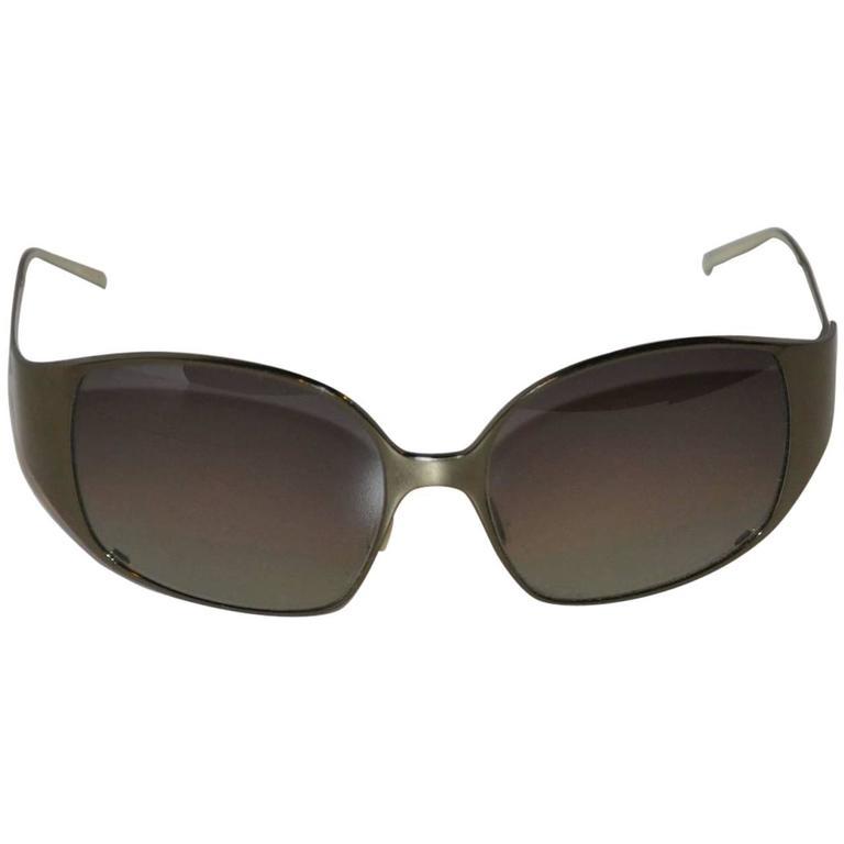 3517273202 Christian Roth Steel-Gray Titanium Semi-Wrap Sunglasses For Sale at 1stdibs