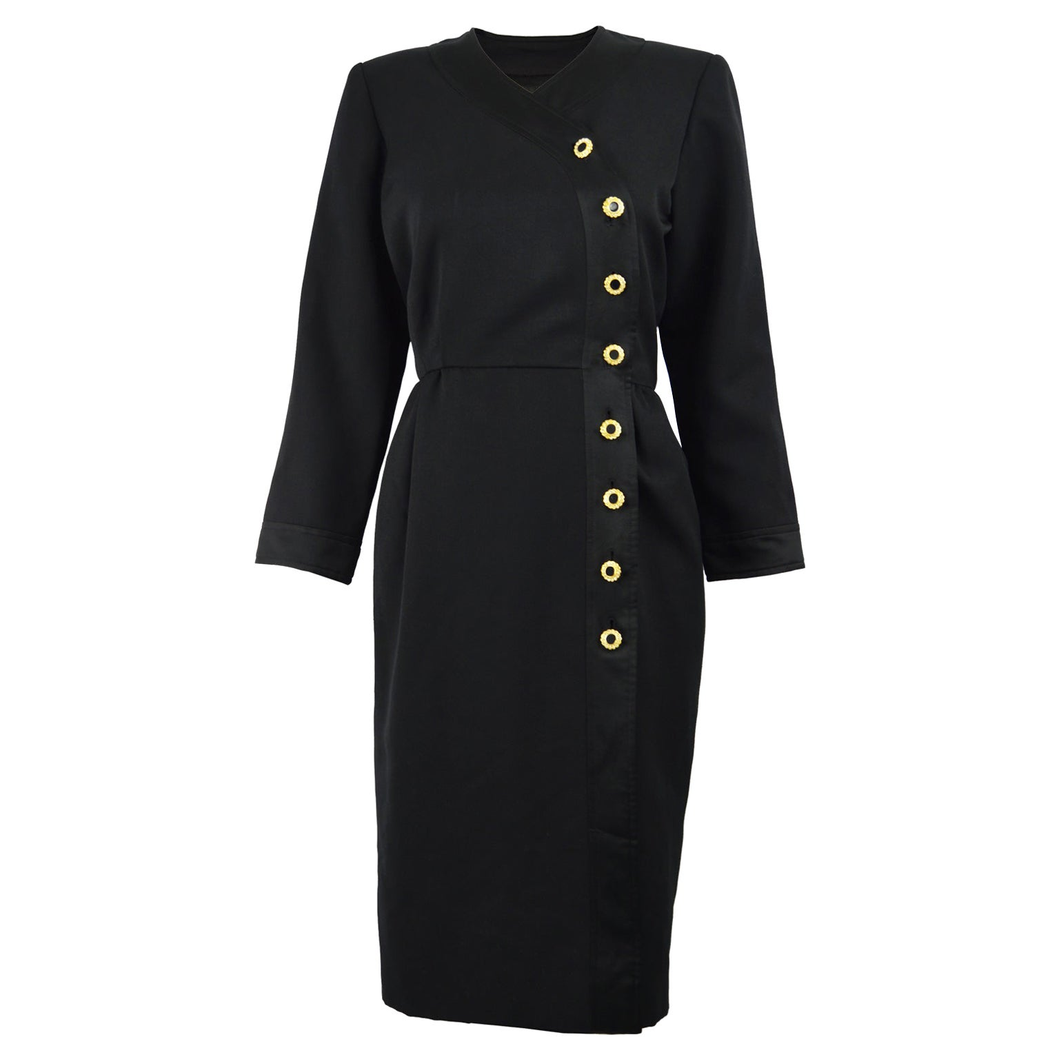 Yves Saint Laurent Rive Gauche Sophisticated Black Faille Blouson Dress, 1980s