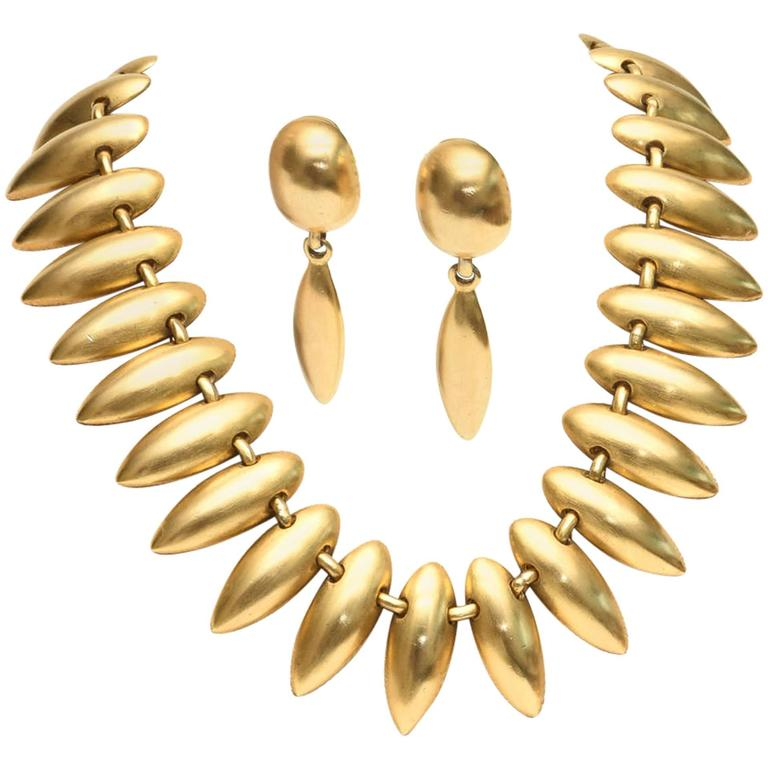 Sculptural Gold Plated Necklace & Earrings 1