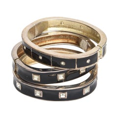 Trio of Enamel and Rhinestone Bangle Bracelets