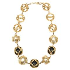 Christian Dior Runway Resin / Faux Pearl / Gold Plated Ball Necklace