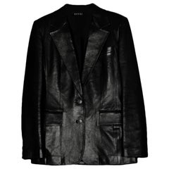 Gucci Black Leather Single Breasted Jacket sz 6