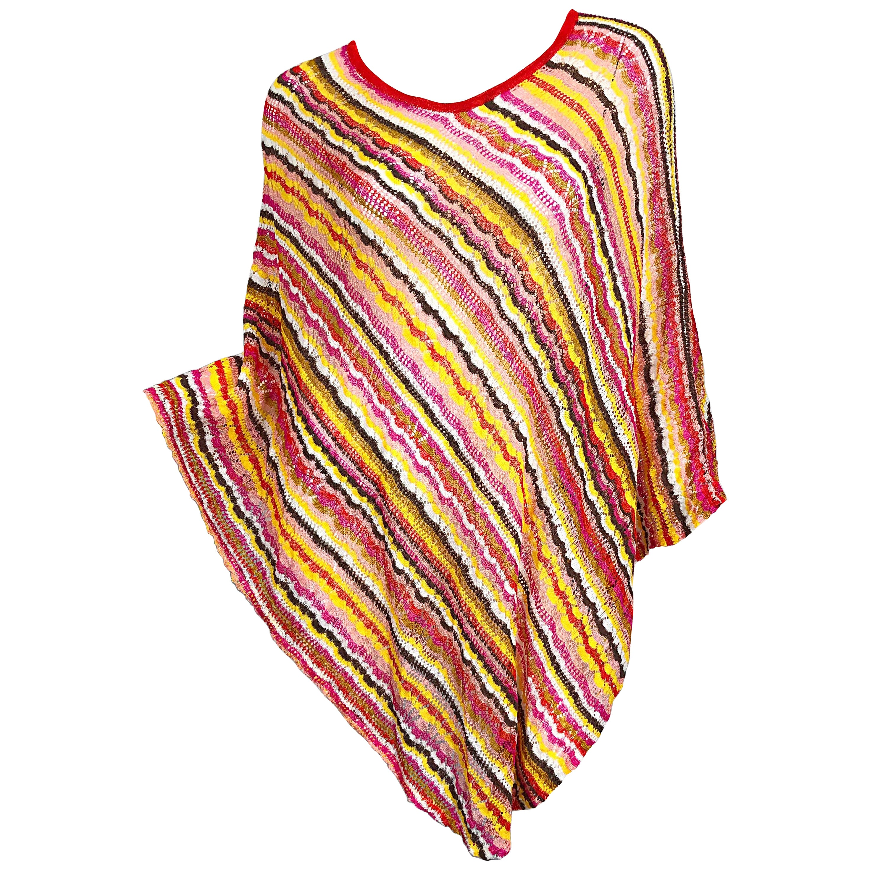 1970s Missoni Multi Colored Pink Yellow Orange Crochet Vintage 70s Poncho Top