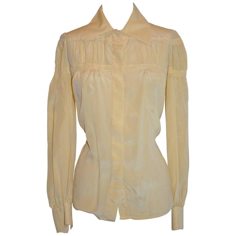 Ted Lapidus Beige Two-Tier Silk Button Blouse
