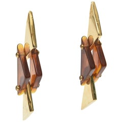 Pair of Vintage Sculptural Brass and Amber Lucite Dangle Earrings