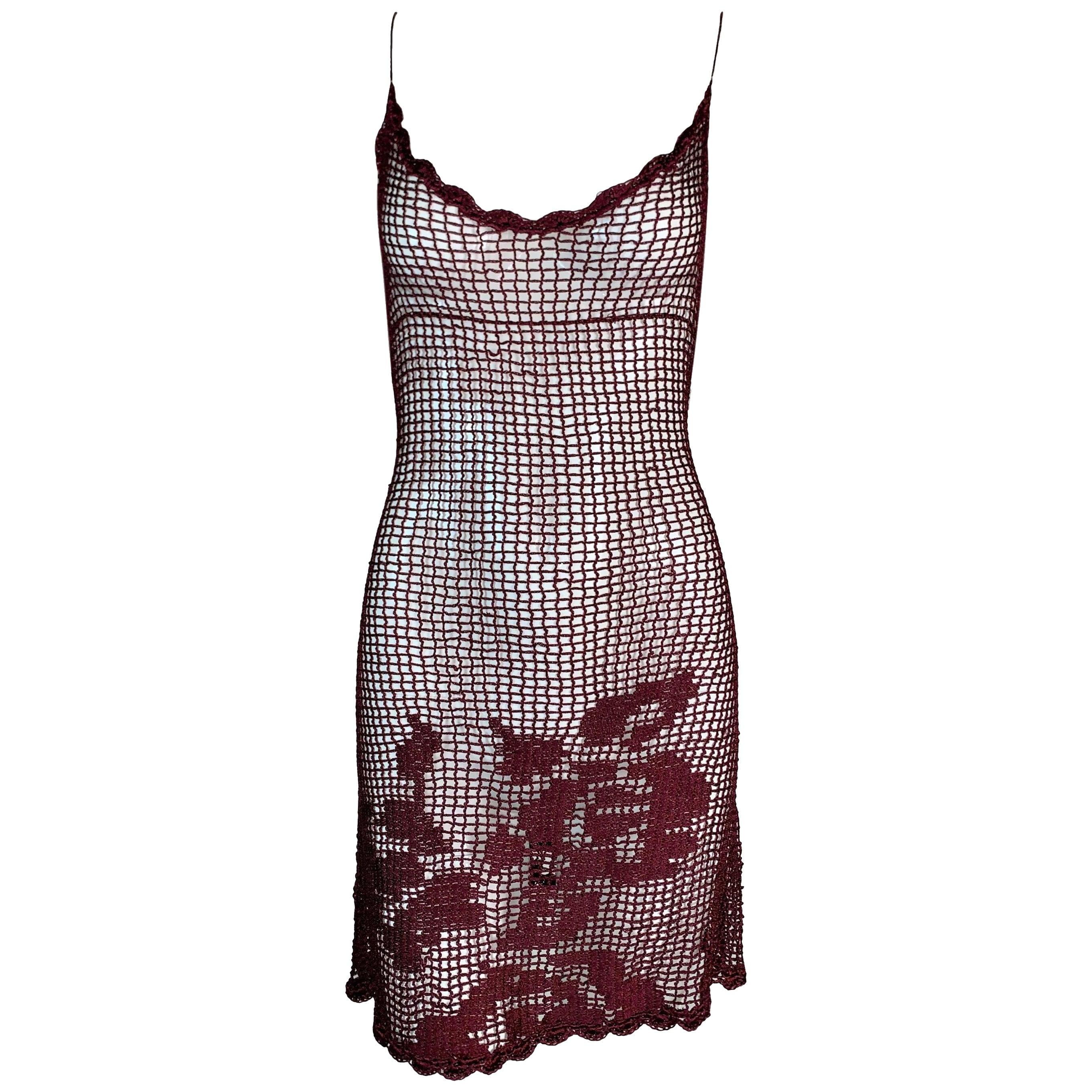 F/W 1997 Dolce & Gabbana Runway Sheer Burgundy Knit Mini Dress