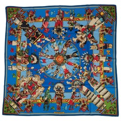 Hermes Brand New Silk Kachinas Blue Scarf