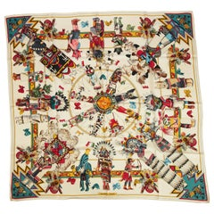 New Hermes Silk Kachinas White Red Scarf