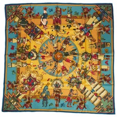 New Hermes Silk Kachinas Blue Yellow Scarf