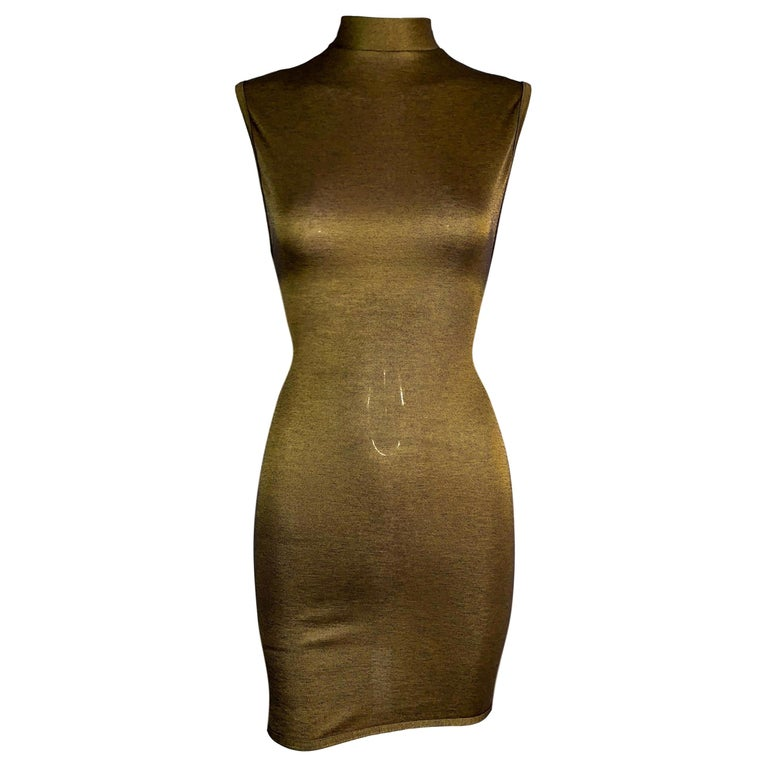 1990's Azzedine Alaia Gold Bodycon Stretch Knit Mini Dress For Sale