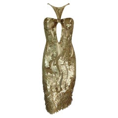 2004 Gucci by Tom Ford Gold Sequin Sheer Cut-Out Backless Dress