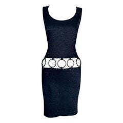 NWT 1990's Yves Saint Laurent MOD 60's Style Cut-Out Metal Rings Mini Dress