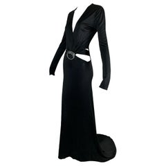 F/W 2004 Gucci Tom Ford Runway Plunging Cut-Out Dragon Gown Dress
