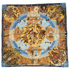New Hermes Silk Mythologies Blue Brown Scarf