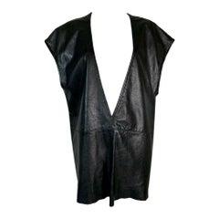 1990's Michel Kors MOD 60's Style Black Leather Plunging Micro Mini Dress