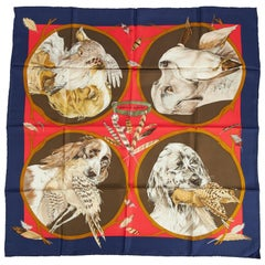 New Hermes Silk Chiens Blue Red Scarf