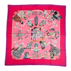 Hermes Rare Silk Hello Dolly Purple Pink Scarf