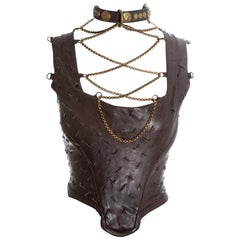 Vivienne Westwood brown slashed leather and gold chain corset, fw 1991