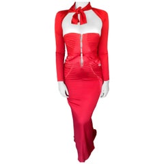 Tom Ford for Gucci F/W 2003 Runway Bustier Corset Silk Red Dress Gown
