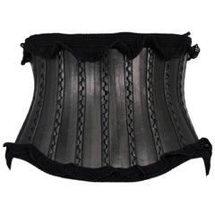 Alaia Black Leather Corset Belt